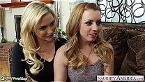 Beauty blondes Lexi Belle and Mia Malkova sharing a big cock's Thumb