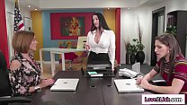 Two hot applicants fuck busty boss to get the job