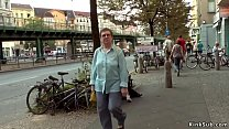 Big tits dark haired slave Pina De Luxe spanked by mistress Mona Wales and master Steve Holmes in public Thumbnail