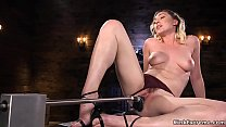Sexy blonde solo babe Lily LaBeau starts with sexy strip tease then on metal table takes fucking machine between her legs till finished laid on back Thumbnail