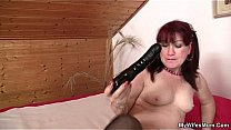 Watch Mother-in-law toying her pussy then swallows his cock preview