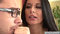 Watch Stepmom Nikki Daniels overheard her stepson fucking his gf.Shes so turned on she wants to taste and feel his big cock inside her.She puts her hands on his bulge and before long she throats it deep.She lets him eat her pussy before he fucks her preview