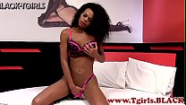 Watch Busty trans mature wanking and tugging her black wang preview