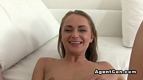 Watch Beautiful eyed blonde bangs fake agent preview