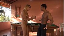 Watch Sweet blonde shemale gives her asshole for penetration by dude's cock on the pool table preview
