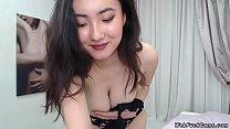 Petite brunette Asian amateur solo babe in blac...