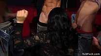 Beautiful and horny brunette Asian babe Nari Park in fishnets surrounded by group of guys in theater made suck their big dicks Thumbnail