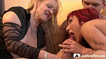 Blonde chick will watch this dude bang a beautiful redhead babe on the sofa. Thumbnail