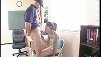 Brunette teen with cute tits gets filled up by ...