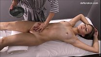 Hot wet pussy dripping from oil on massage table