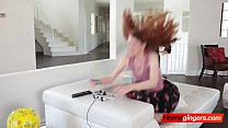 Stunning ginger Abbey Rain sucks hard dick and gets her bushy cunt penetrated Thumbnail