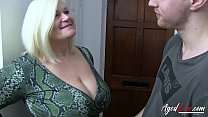 Busty blonde porn star fucking hard with youngster Thumbnail