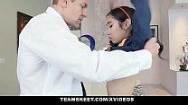 Asian Teen Eva Yi Struggles To Insert A Giant C...