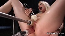 Naked blonde solo gets fucking machine in wet pussy's Thumb