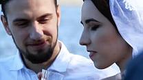 Nude bride in public