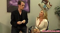 Watch Sexy Milf Julia Ann wants to make sure he is not going out with a load cock, so she decides to milk him on date night! See the full video and gain access to Julia's live free_member shows! preview
