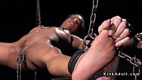 Ebony slave hottie chained in suspension anal fucked with huge dildo