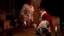 Hot servant fucked in a tavern by two guards of...