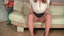 Blond MILF Nina stripping and rubbing Thumbnail