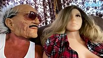 Old man gets it on with a sexy doll with big bo...
