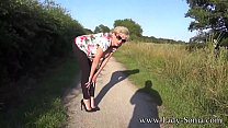Sexy mature blonde flashing her tits at a cafe then sucking a hard cock outdoors Thumbnail