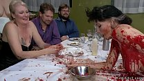 Brunette slave is spanked in public soup course...