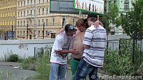 y. group with a hot blonde girl having fun thre...
