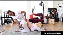 Watch Ass Hottie Nina Kayy stretches with Black Yoga Instructor Macana preview