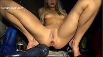 Teen inserts Big Dildo in her ass and Does Work...