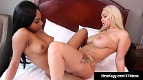 Horny interracial lesbian foreplay
