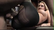 Young blonde and her boss fuck atop an office desk at work Thumbnail