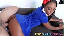 Plowed ebony teen with small tits gets facializ...