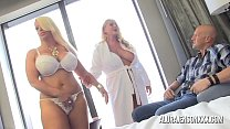 Two big tit blondes take turns pleasing one lucky guy's Thumb