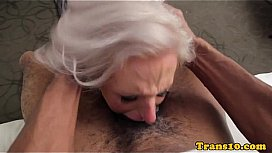 Girl blows inked tgirl licks balls after getting plowed tit