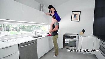 Dark haired spinner banged in kitchen