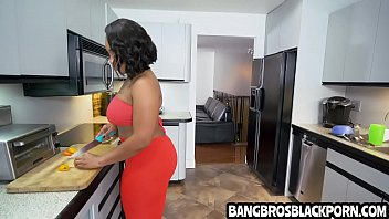 Ebony stepmom deals with her boyfriends' son who has a big dick - black porn