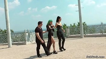 Alt slave Lola d. in public by mistress Fetish Liza and master John Strong then in a bar banged by strap on and real dick for the crowd