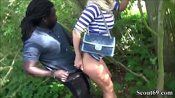 German Teeny Catch Outdoor by two Strangers and seduce to interracial big Dick Threesome