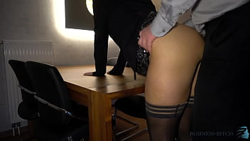 intense business meeting - boss fucks his sexy secretary in stockings on a desk