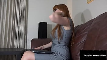 Sexy JOI expert redhead with glasses, Penny Pax, wears a tight gray dress, masturbating as she thinks of giving you a footjob until she cums! Full Video & Penny Live @ PennyPaxLive.com!