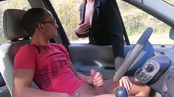 he takes out his cock in a public place, this cougar throws it on