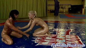Oil wrestling lesbos queening each other