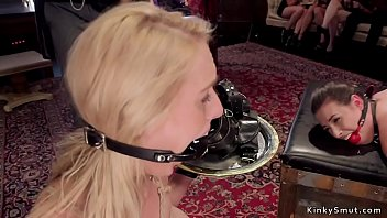 Senior brunette slave Casey Calvert and blonde novice babe Cadence Lux in lingerie serving to master in bdsm brunch party and fucking and sucking