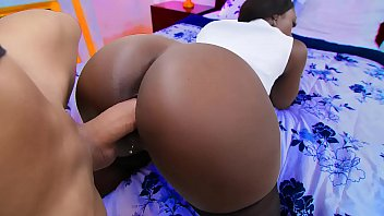Hot black milf with big tits and a round ass gives a big dick a bj then gets fucked hard