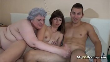 Nasty granny joins this horny...