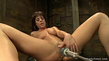 Watch Busty stunning brunette babe in wet pussy shoves different fucking machines preview