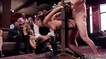 Natural busty brunette slave rides Sybian and sucks huge dick at brunch bdsm party