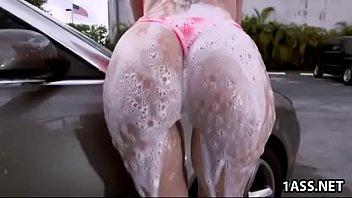Booty Sara Jay With Big Tits Washes Car And Fucks Huge Black Cock