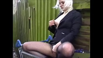 Flashing outside with self fingering exhibitionist playing to voyeurs