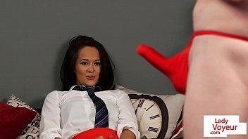 Uniformed british voyeur instructs from couch